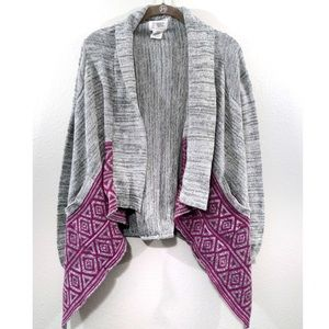 Billabong Cardigan Gray Fly Away Aztec Open Front